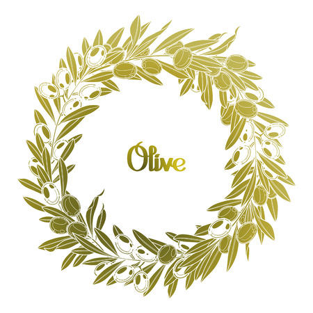 olive wreath: Graphic olive wreath isolated on white background. Vector natural design Illustration