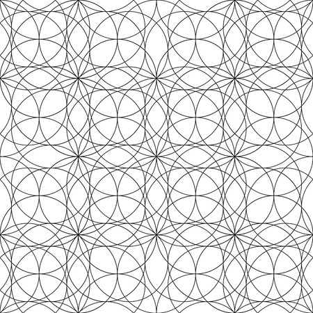 coloring book page: Graphic sacred geometry seamless pattern in black and white colors. Coloring book page design