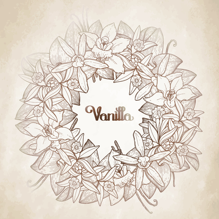 brawn: Graphic vanilla wreath in brawn colors. Vector floral decoration