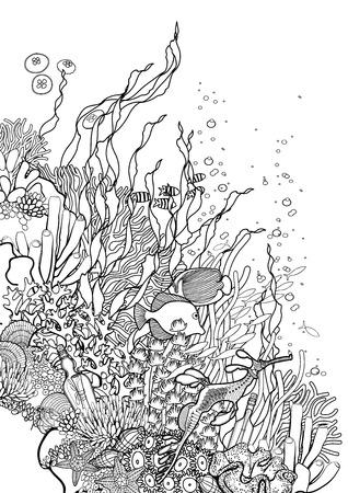 Grafische koraalrif getekend in lijn art stijl. Oceaan planten en rotsen op een witte achtergrond. Vector kunst in zwart-wit kleuren. Kleurboek pagina ontwerp voor volwassenen en kinderen.