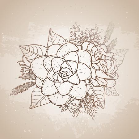 Grafische Blumenkarte. Vektor Blätter Und Blüten In Niedlichen ...
