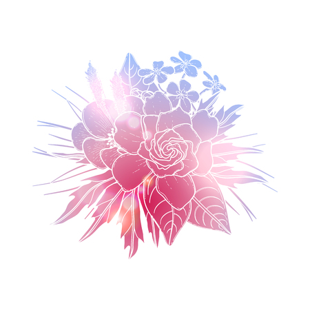 Graphic floral card. Vector isolated leaves and flowers in cute vignette. Wedding style decorations in blue and pink colors