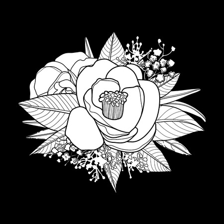 Graphic floral card. Vector camellia leaves and flowers in cute vignette isolated on black background. Coloring book page design for adults and kids