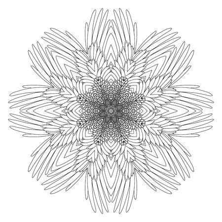 Alas Gráficos Dibujados En Línea Estilo Del Arte. Vector Adorno ...