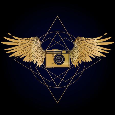 arte optico: cámara de la vendimia gráfico con dos alas. El arte conceptual para sitios web, tarjetas de visita y otros identitys corporativos para los fotógrafos.