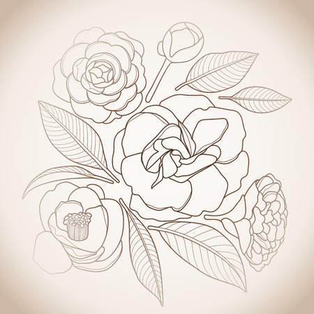 Graphic camellia set in brawn colors. Vector floral design
