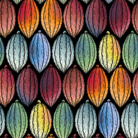 cacao: Watercolor cocoa fruits seamless pattern. Hand drawn exotic cacao plants in different color