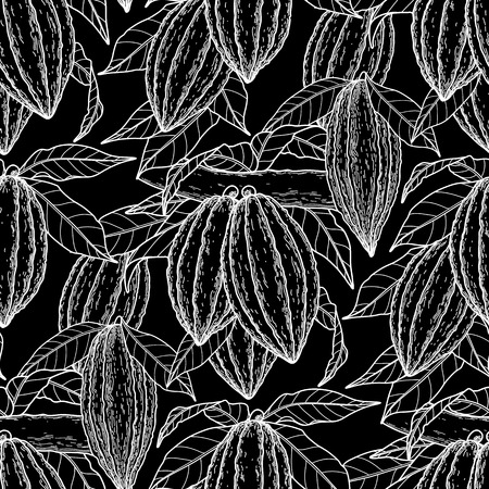 cacao: Graphic cocoa fruits on the branches. Hand drawn exotic cacao plants. Vector seamless pattern