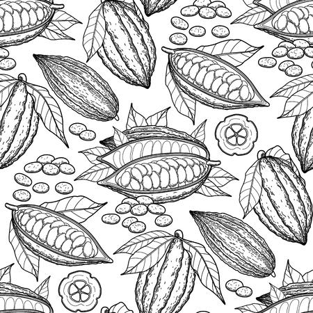 グラフィック ココア フルーツ。エキゾチックなカカオの植物。ベクターのシームレスなパターン。大人と子供のためのカラーリング ブック ページ