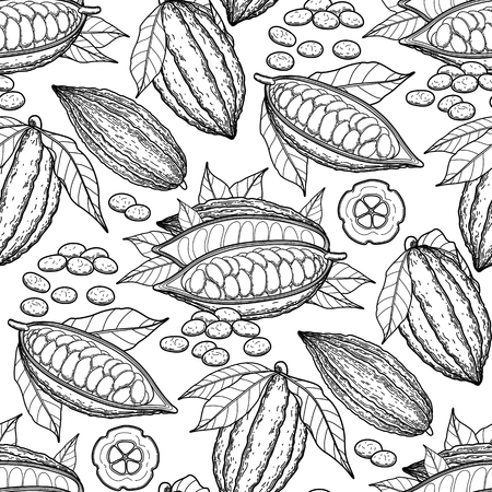 Graphic cacao vruchten. Exotische cacao planten. Vector naadloos patroon. Kleurboek pagina ontwerp voor volwassenen en kinderen Stock Illustratie