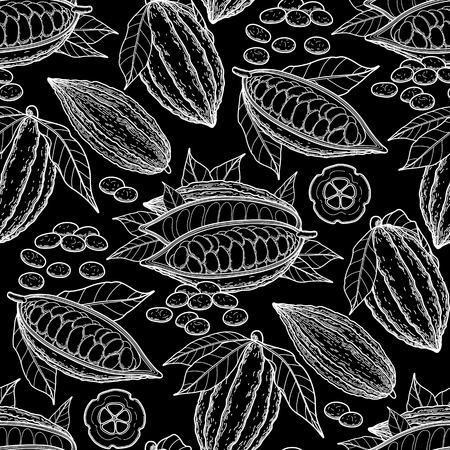 cacao: Graphic cocoa fruits. Exotic cacao plants. Vector seamless pattern
