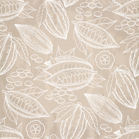 cacao: Graphic cocoa fruits on aged paper. Hand drawn exotic cacao plant in brawn colors. Vector seamless pattern