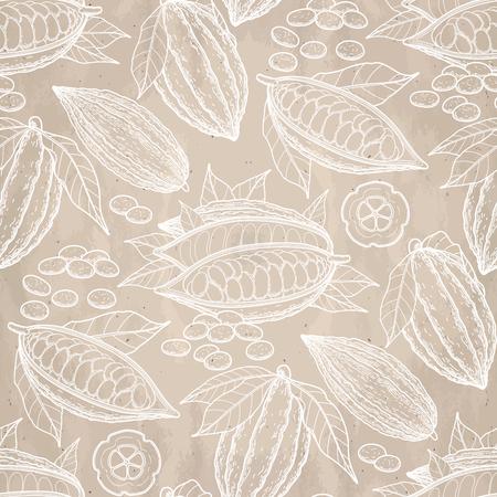 Graphic Kakaofrüchte auf Papier ab. Hand exotischen Kakaopflanze in Sülze Farben gezeichnet. Vektor nahtlose Muster