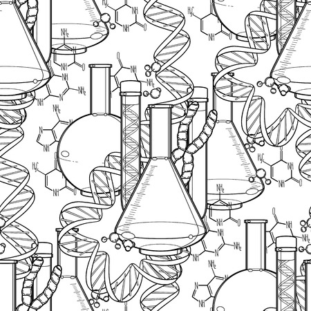 sequences: Genetic research pattern. Graphic test tube, DNA sequences and chemical formulas. Vector medical seamless pattern. Coloring book page design for adults and kids