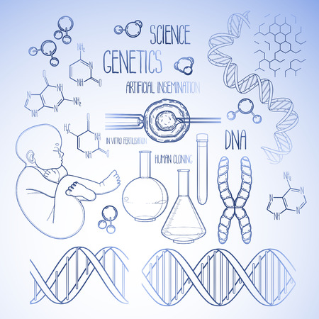 test tube babies: Graphic genetic research set. Vector medical and science collection in blue colors. Coloring book page design for adults and kids