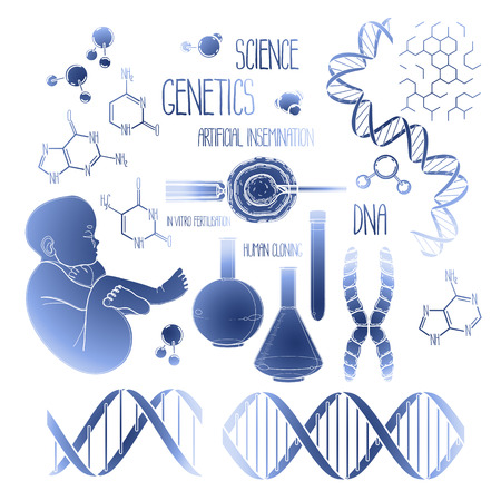 test tube babies: Graphic genetic research set. Vector medical and science collection in blue colors
