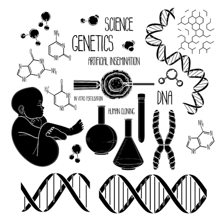 fertilize: Graphic genetic research set. Vector medical and science collection isolated on white background