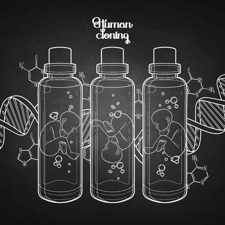 test tube babies: Graphic vector fetus in the glass bottle and abstract dna background. Artificial insemination or IVF topic. Vector science illustration