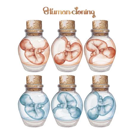 in vitro: feto acuarela en la botella de vidrio. el tema de la clonación humana