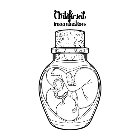 insemination: Graphic vector fetus in the glass bottle. Artificial insemination or IVF topic. Coloring book page design Illustration