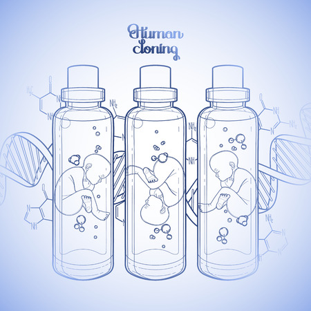 test tube baby: Graphic vector fetus in the glass bottle and abstract dna background. Artificial insemination or IVF topic. Vector science illustration. Coloring book page design for adults and kids