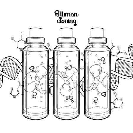 test tube babies: Graphic vector fetus in the glass bottle and abstract dna background. Artificial insemination or IVF topic. Vector science illustration. Coloring book page design for adults and kids