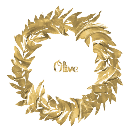 olive wreath: Graphic olive wreath isolated on white background. Vector natural design with acrylic texture Illustration