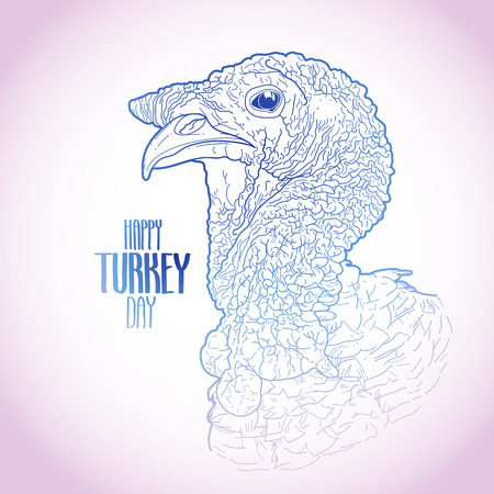 gobble: Vector turkey head drawn in line art style. Thanks giving day design element isolated on white background. Holiday art in pink and blue colors