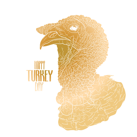 thanks giving: Vector turkey head drawn in line art style. Thanks giving day design element isolated on white background. Holiday art in golden colors