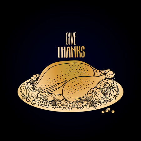 golden apple: Graphic festive turkey decorated with fruits and vegetables. Vector Thanksgiving day design isolated on black background in golden colors Illustration