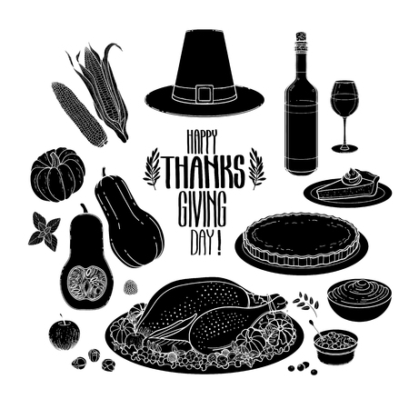 Graphic Thanksgiving day collection drawn in line art style. Vector holiday attributes isolated on white background