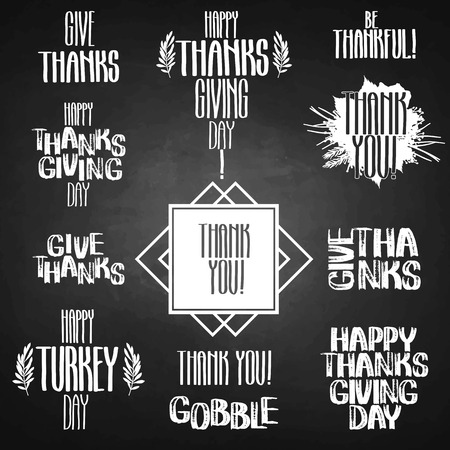 gobble: Vector collection of holiday inscriptions. Thanks giving day design isolated on the chalkboard