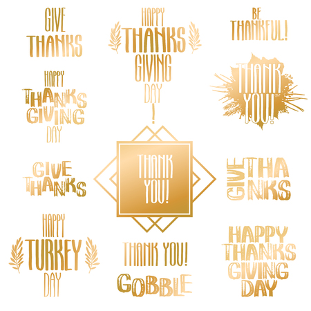 thanks giving: Vector collection of holiday inscriptions. Thanks giving day design isolated on white background.
