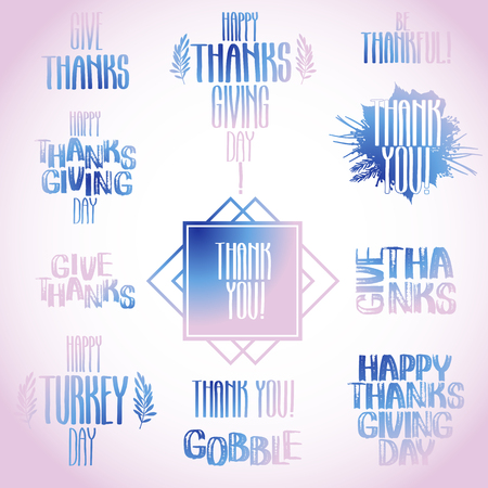 gobble: Vector collection of holiday inscriptions. Thanks giving day design isolated on white background.