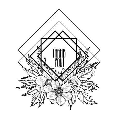 balck and white: Graphic floral card. Vector leaves and flowers in cute vignette isolated on white background. Wedding style decorations in balck and white colors. Coloring book page design for adults and kids