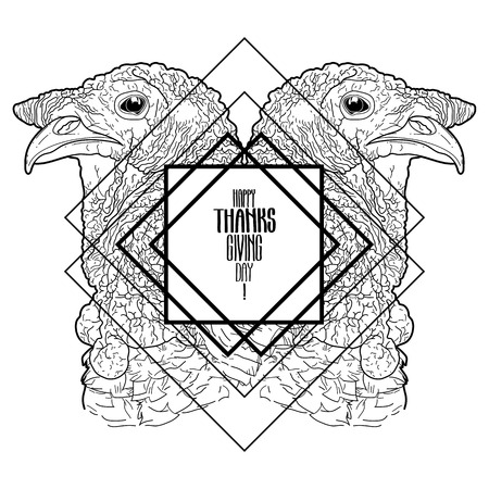 thanks giving: Two mirrored turkey heads drawn in line art style. Thanks giving day vector art isolated on white background. Coloring book page design for adults and kids Illustration