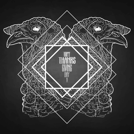 mirrored: Two mirrored turkey heads drawn in line art style. Thanks giving day vector art isolated on the blackboard