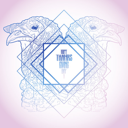 gobble: Two mirrored turkey heads drawn in line art style. Thanks giving day vector art in pink and blue colors