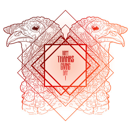 Two mirrored turkey heads drawn in line art style. Thanks giving day vector art in red colors isolated on white background Illustration