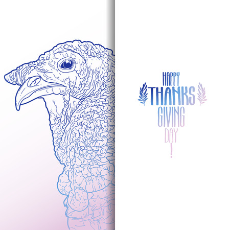 thanks giving: Graphic design with turkey head drawn in line art style. Thanks giving day vector art in pink and blue colors