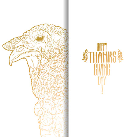thanks giving: Graphic design with turkey head drawn in line art style. Thanks giving day vector art in golden colors.