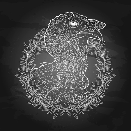 olive wreath: Graphic turkey head decorated with olive wreath. Thanks giving day vector art in black and white colors. Holiday card on the chlkboard background Illustration
