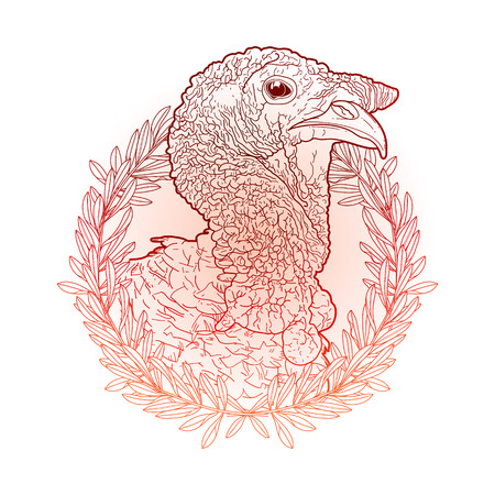 thanks giving: Graphic turkey head decorated with olive wreath. Thanks giving day vector art in red colors Illustration