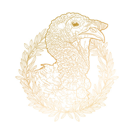 gobble: Graphic turkey head decorated with olive wreath. Thanks giving day vector art in golden colors