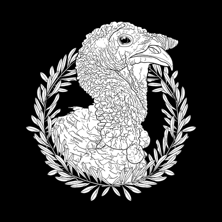 Graphic turkey head decorated with olive wreath. Thanks giving day vector art in black and white colors. Coloring book page design for adults and kids