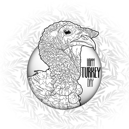 gobble: Graphic design with turkey head drawn in line art style. Thanks giving day vector art in black and white colors. Coloring book page design for adults and kids