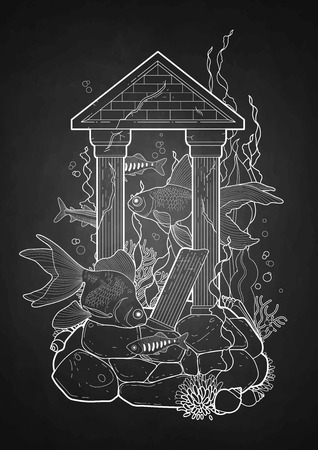 ancient roman: Graphic aquarium fish with architectural sculpture drawn in line art style. Under water scenery isolated on the chalkboard. Ancient Roman architecture. Illustration