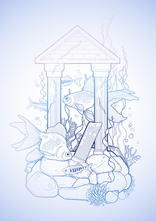 ancient roman: Graphic aquarium fish with architectural sculpture drawn in line art style. Isolated under water scenery in blue colors. Ancient Roman architecture. Illustration