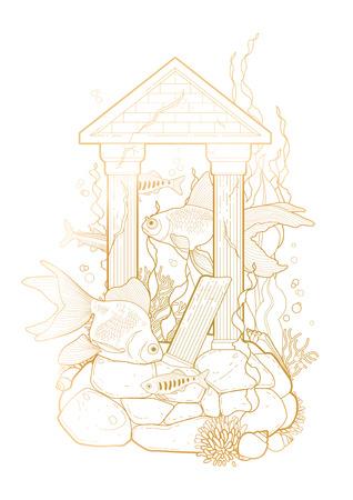 escultura romana: peces de acuario gráfica con la escultura arquitectónica dibujado en el estilo de la línea de arte. Aislados, en un paisaje de agua en el fondo blanco en colores de oro. arquitectura romana antigua. Vectores