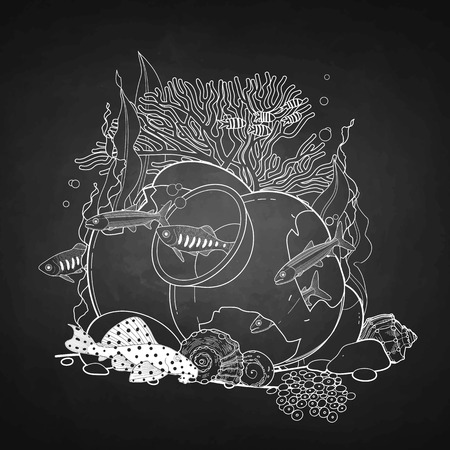 Graphic aquarium fish with broken jar drawn in line art style. Under water scenery isolated on the chalkboard. Illustration